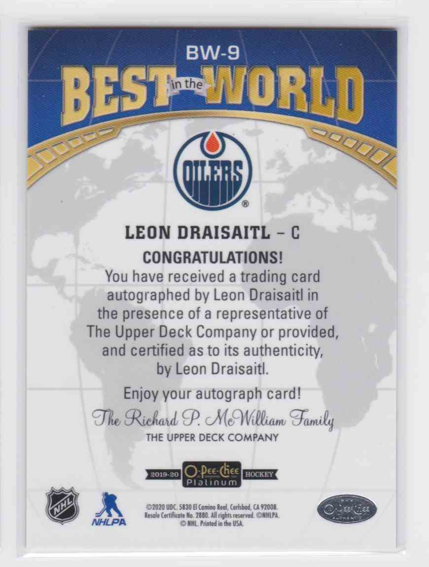 2019-20 Upper Deck Hockey O-Pee-Chee Platinum Leon Draisaitl - Best In The World #BW-9 card back image
