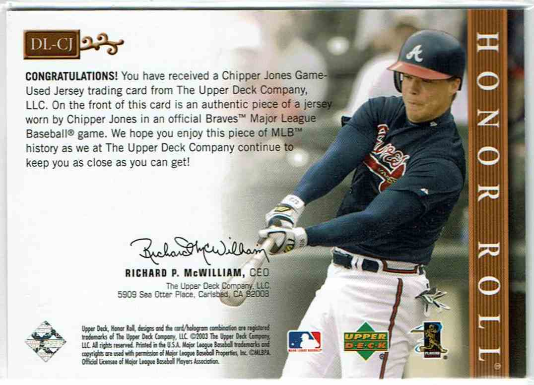 2003 Upper Deck Honor Roll Dean's List Chipper Jones #DL-CJ card back image
