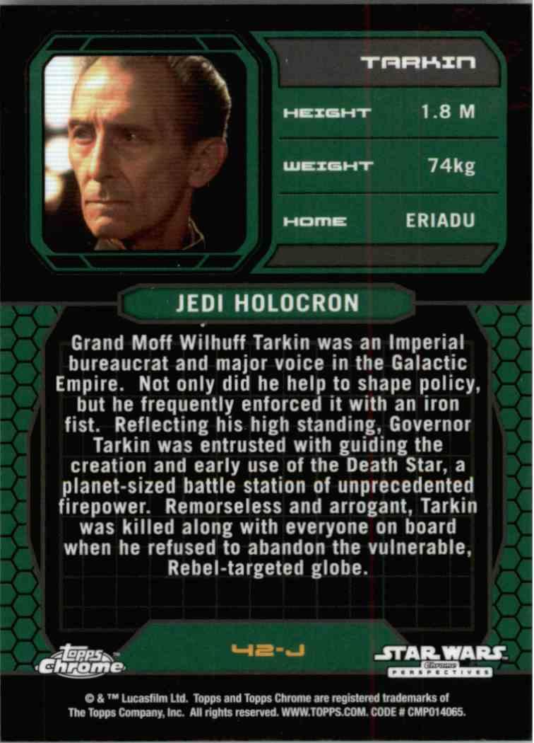 2015 Topps Chrome Star Wars Jedi Temple Archives Tarkin #42-J card back image