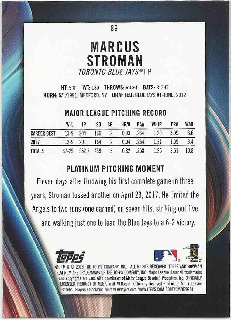 2018 Bowman Platinum Blue Marcus Stroman #89 card back image