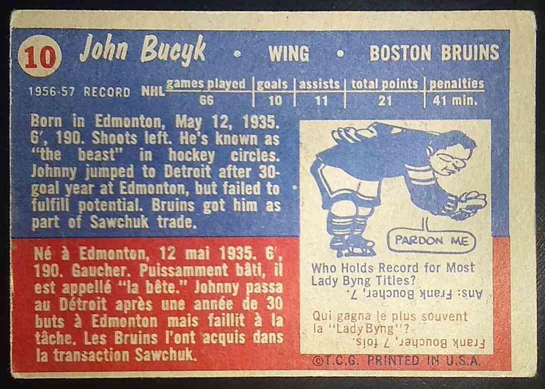 1957-58 Topps John Bucyk #10 card back image