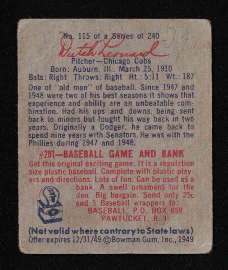 1949 Bowman Dutch Leonard G-VG Creases #115 card back image