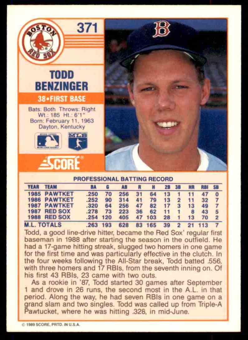 1989 Score Regular Todd Benzinger #371 card back image