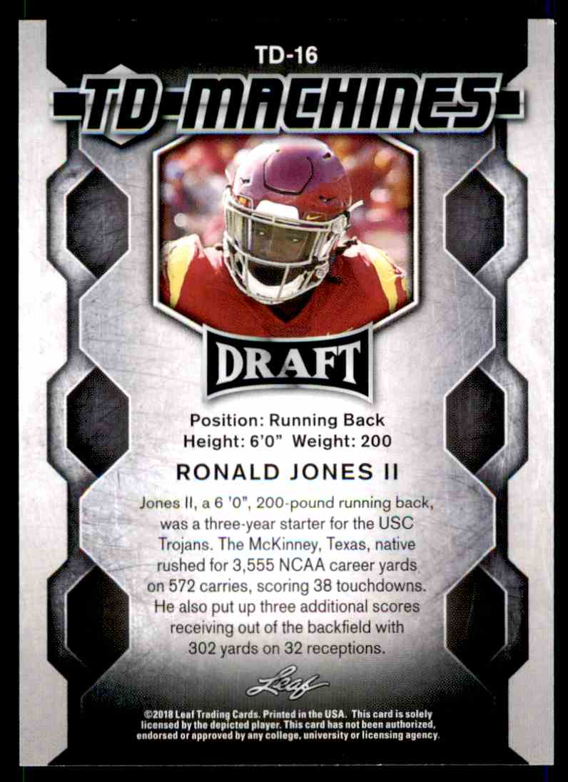 2018 Leaf Draft Ronald Jones II #TD-16 card back image