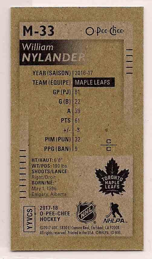 2017-18 O-Pee-Chee O-Pee-Chee Mini William Nylander #M-33 card back image