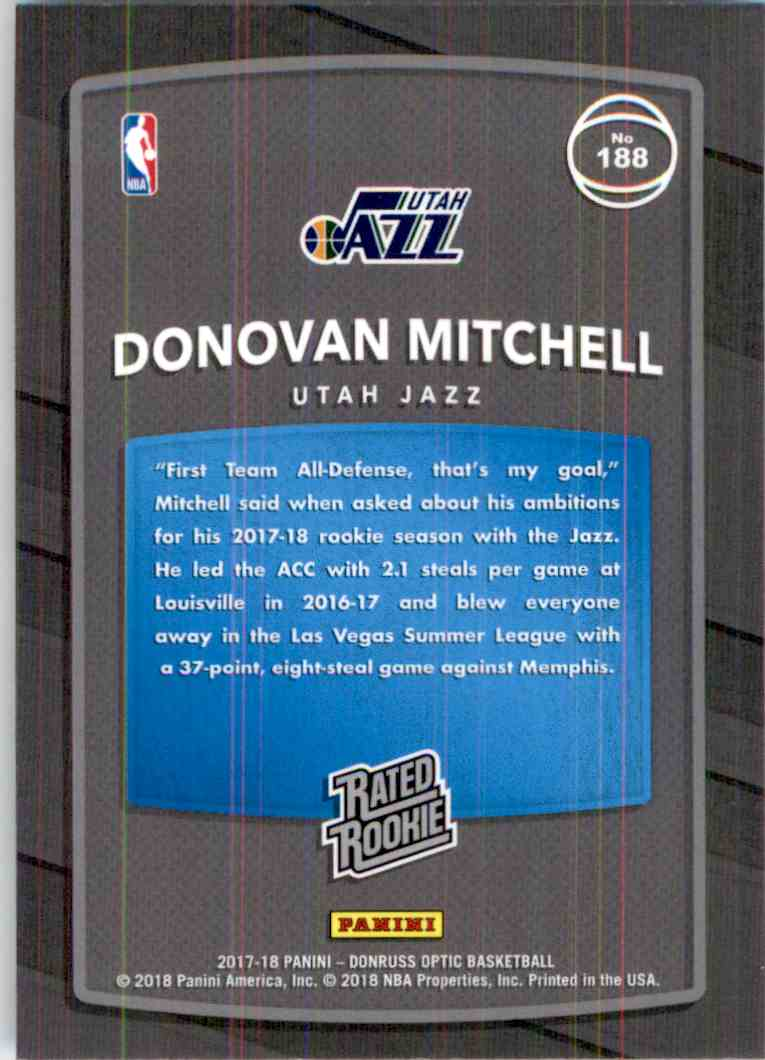 2017-18 Donruss Optic Rated Rookie Donovan Mitchell #188 card back image