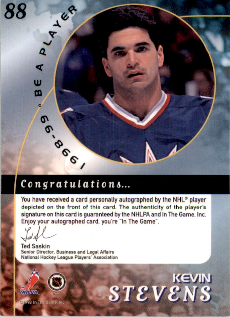 1998-99 Be A Player Autographs Kevin Stevens #88 card back image