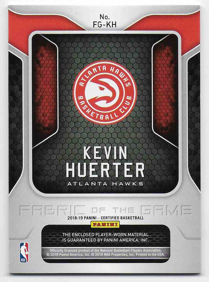2018-19 Panini Certified Fabric Of The Game Rookie Relics Kevin Huerter #19 card back image