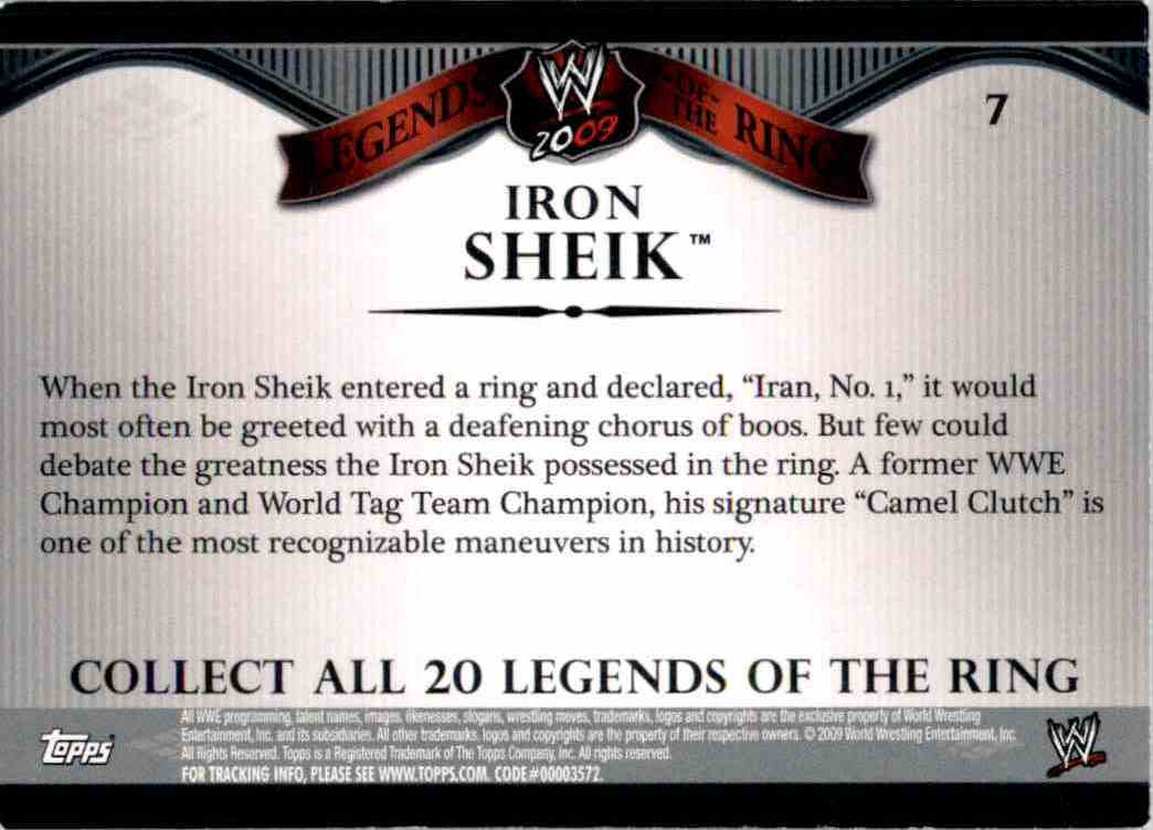 2009 Topps Wwe Legends Of The Ring Iron Sheik #7 card back image