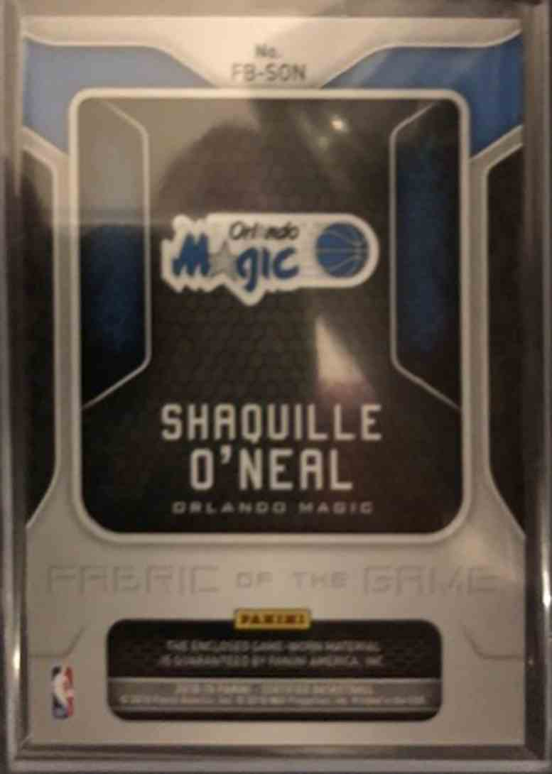 2018-19 Panini Panini Certified Fabric Of The Game Shaquille O'Neal #FB-SON card back image