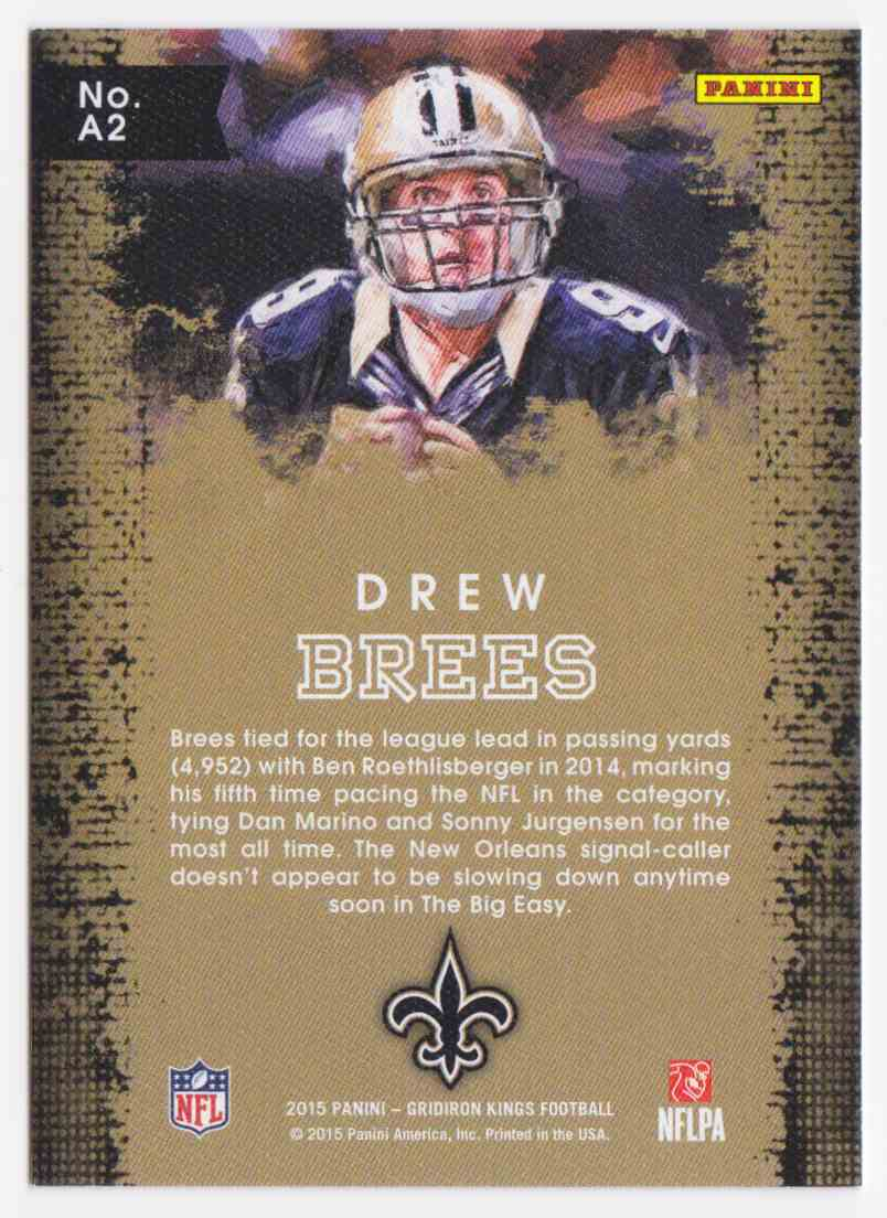2015 Panini Gridiron Kings Aficionado Drew Brees #2 card back image