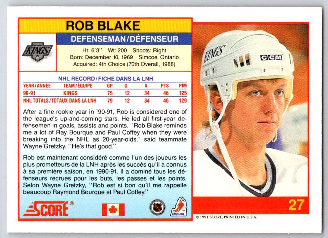 1991-92 Score Canadian Bilingual Rob Blake #27 card back image