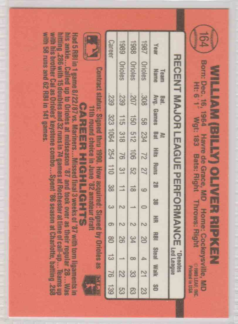 1990 Donruss Base Billy Ripken #164 card back image