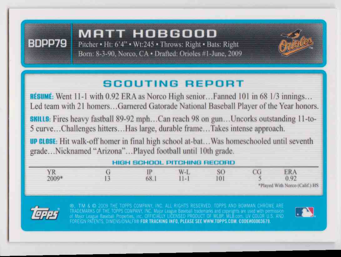 2009 Bowman Chrome Draft Autographs Matt Hobgood #BDPP79 card back image
