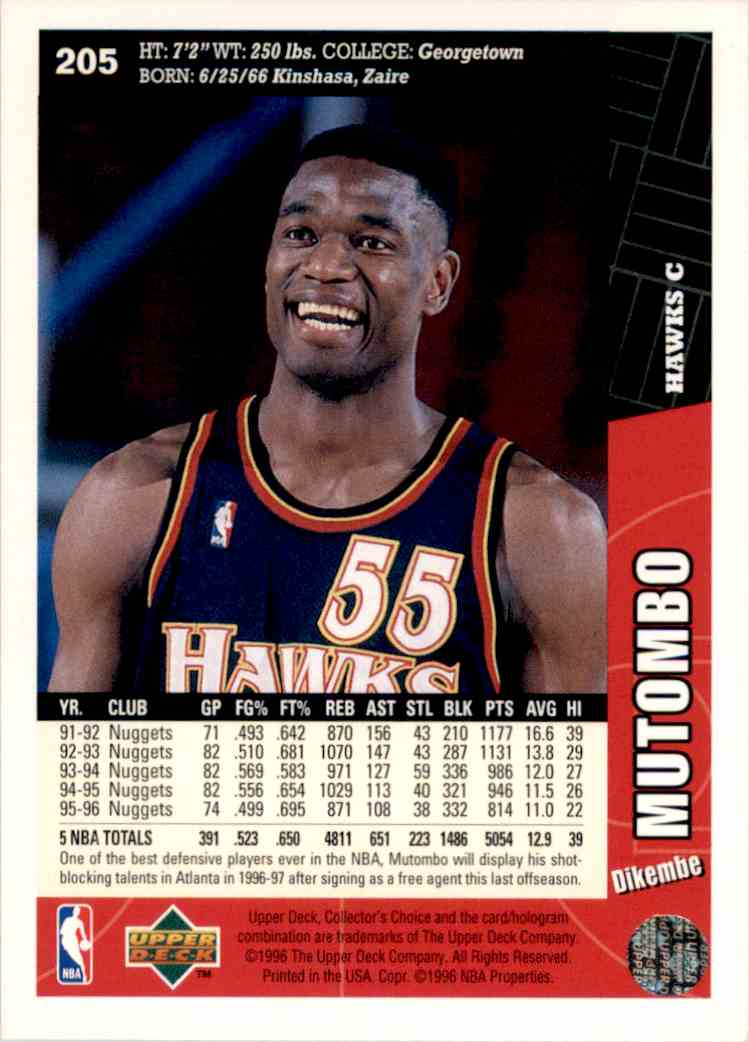 1996-97 Collector's Choice Dikembe Mutombo #205 card back image