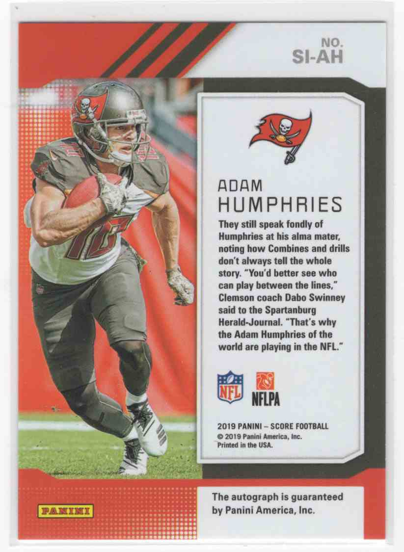 2019 Panini Score Adam Humphries #SI-AH card back image