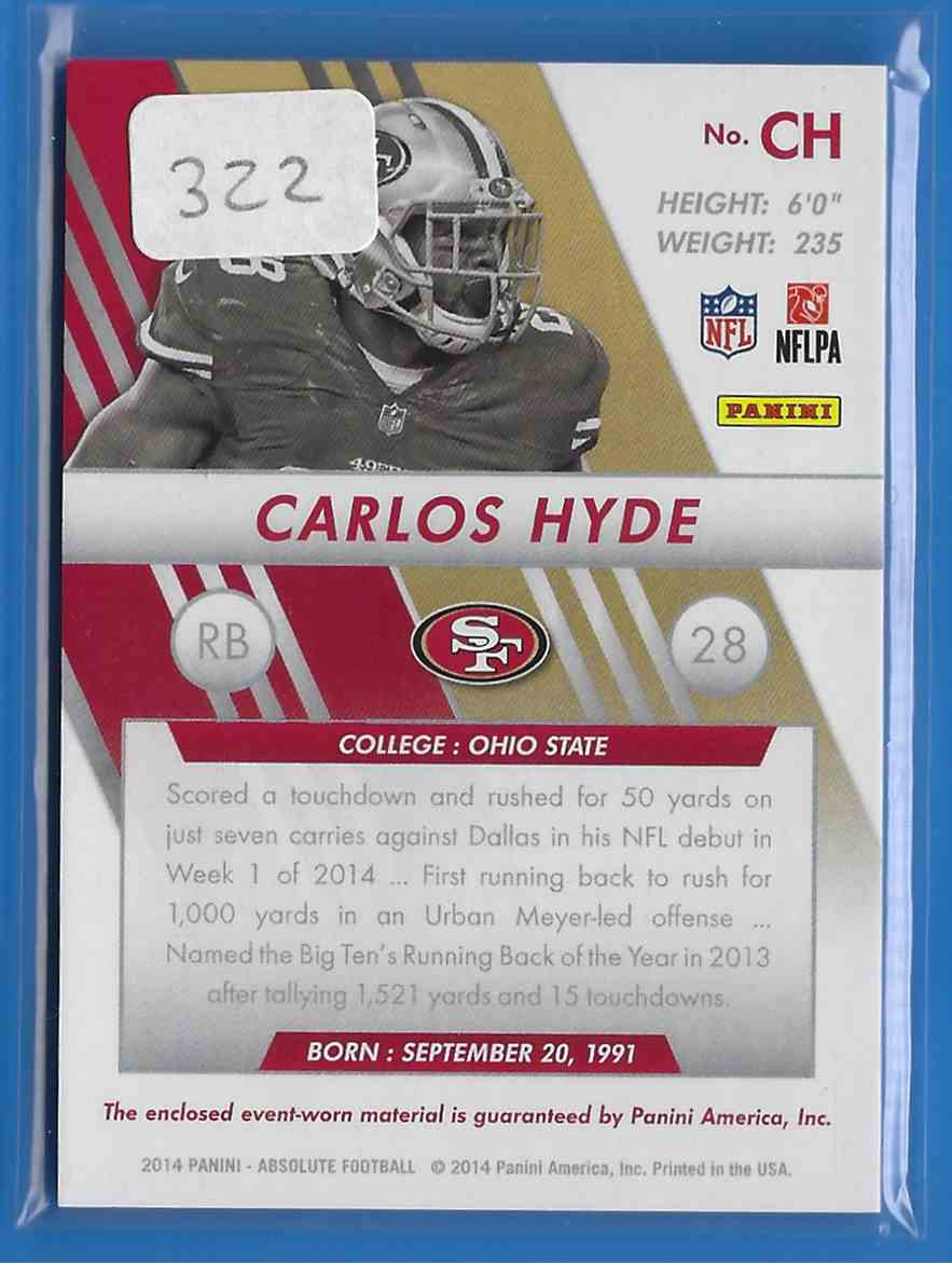 2014 Absolute Rookie Jersey Collection Carlos Hyde #RJCH card back image