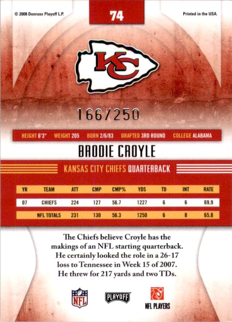 2008 Absolute Memorabilia Spectrum Blue Retail Brodie Croyle #74 card back image