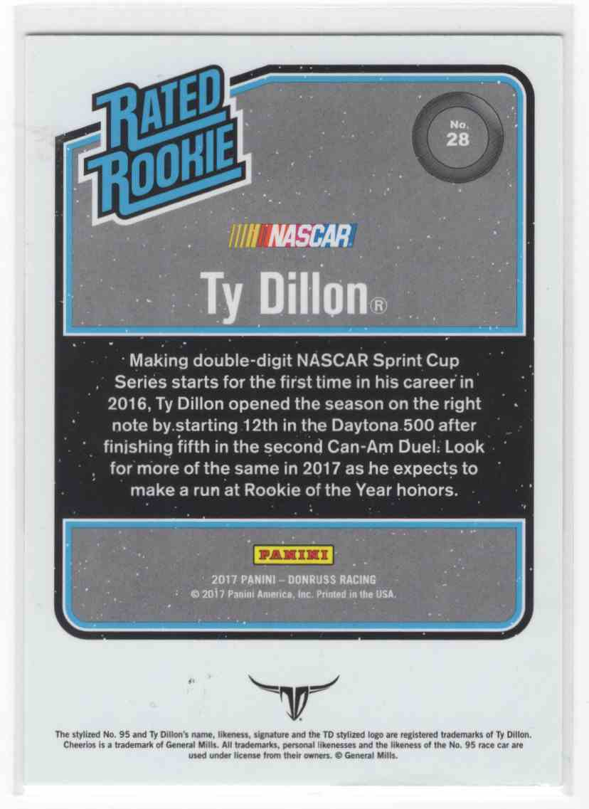 2017 Panini Donruss Racing Ty Dillon #28 card back image