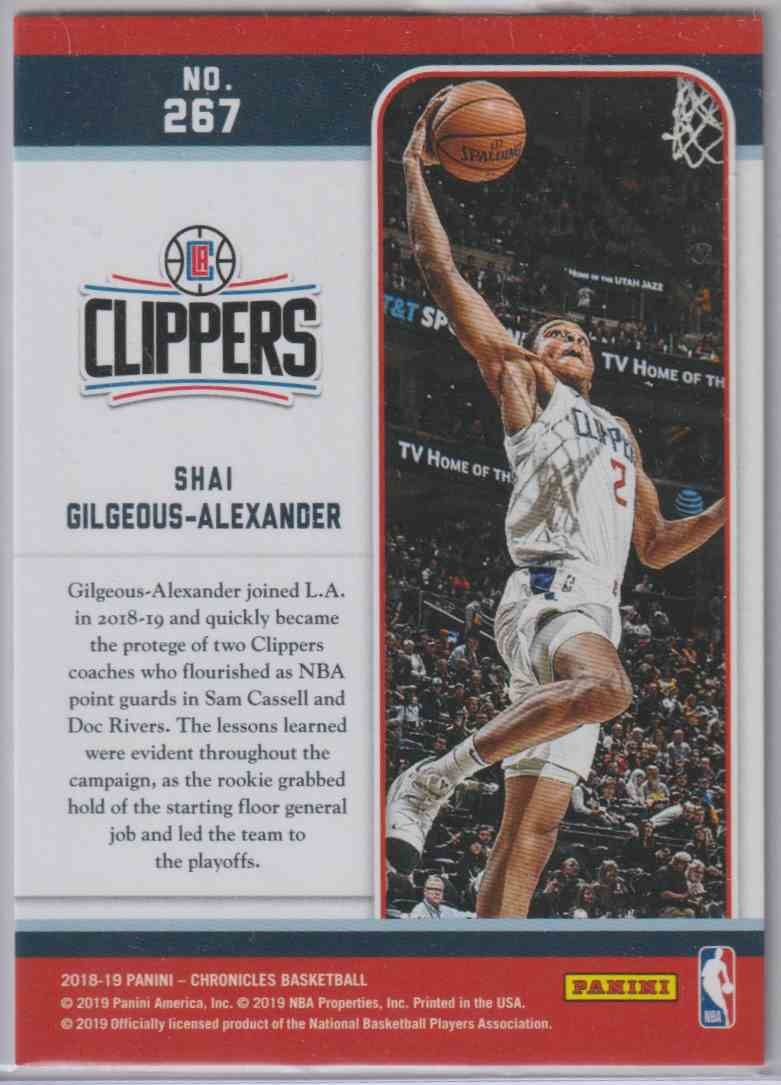 2018-19 Panini Chronicles Marquee Rookies Shai Gilgeous-Alexander #267 card back image