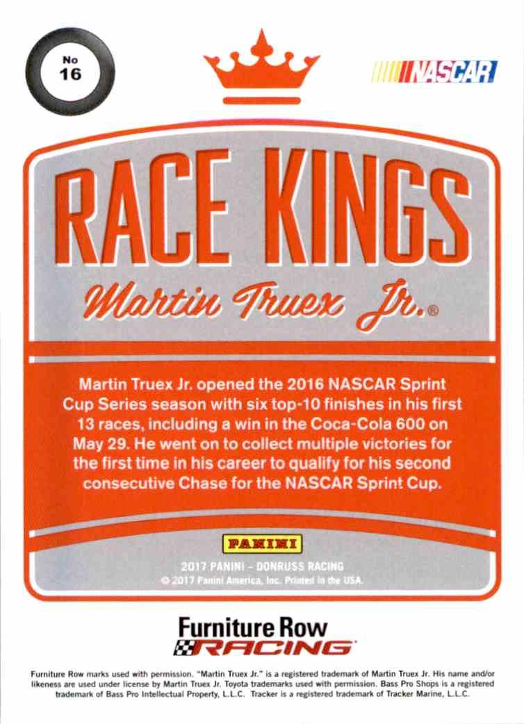 2017 Panini Donruss Racing Martin Truex JR. #16 card back image