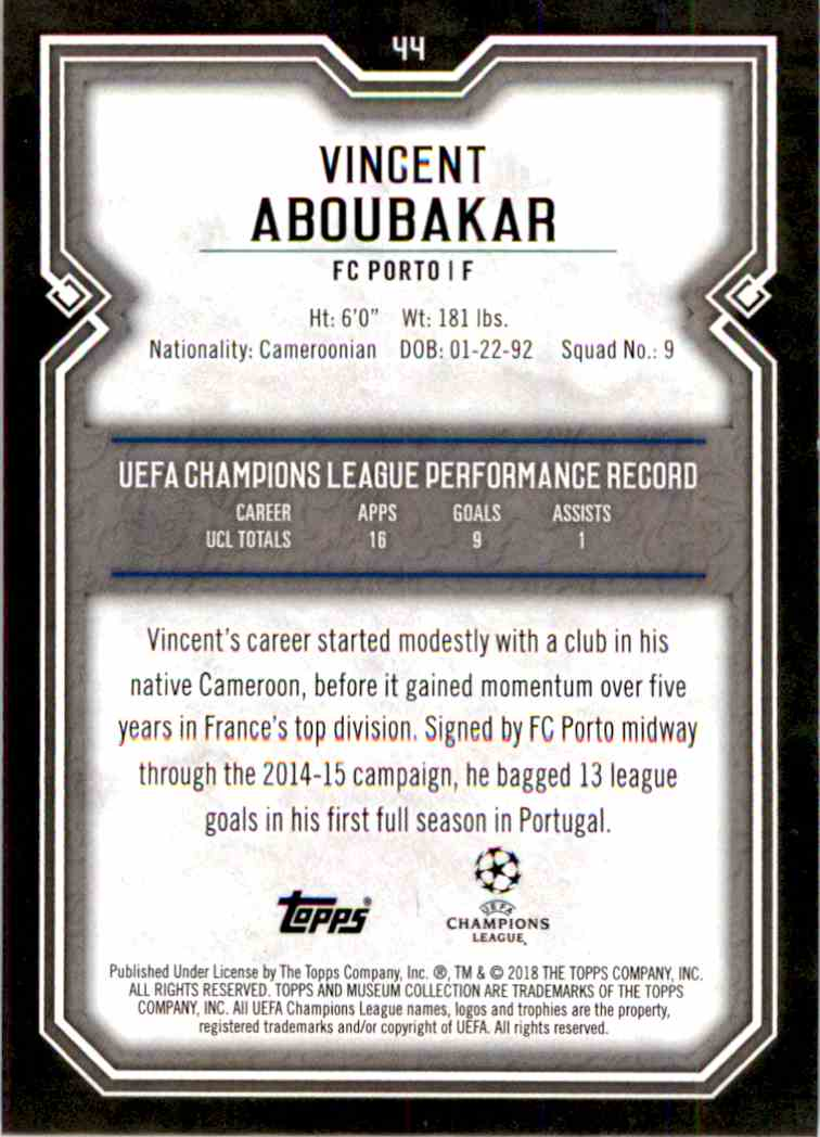 2017 Topps Uefa Champions League Gold Vincent Aboubakar #44 card back image