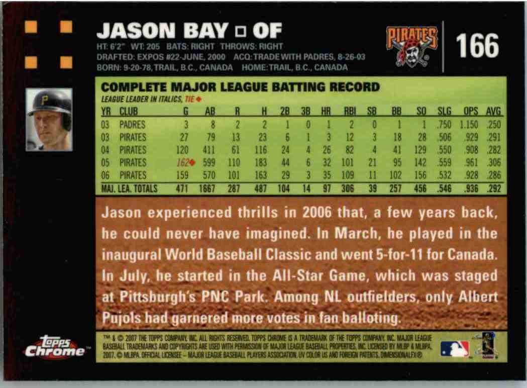 2007 Topps Chrome Jason Bay #166 on Kronozio
