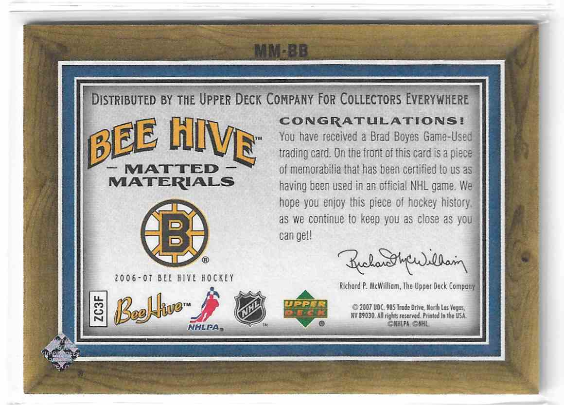 2006-07 Upper Deck Bee Hive Matted Materials Brad Boyes #MM-BB card back image