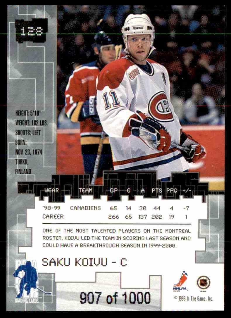 1999-00 Bap Millennium Ruby Saku Koivu #128 card back image