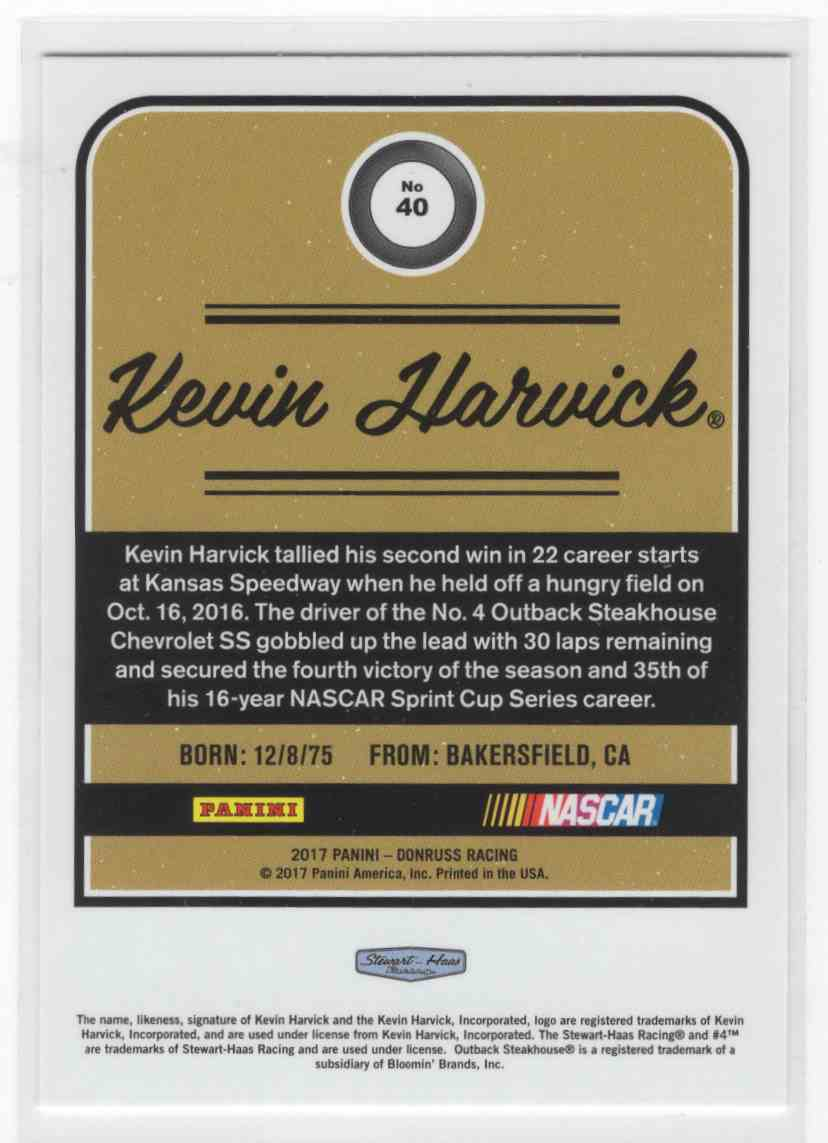 2017 Panini Donruss Racing Kevin Harvick #40 card back image