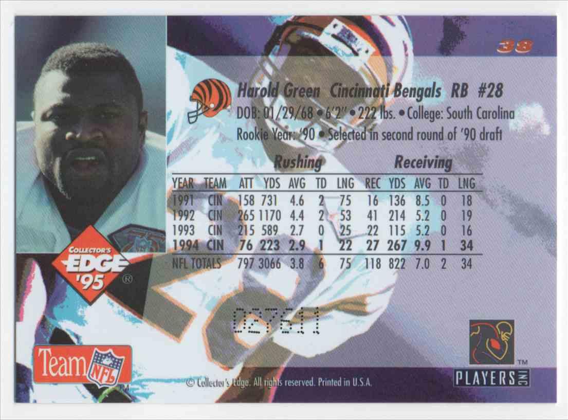 1995 Collectors Edge Black Label Harold Green #38 card back image
