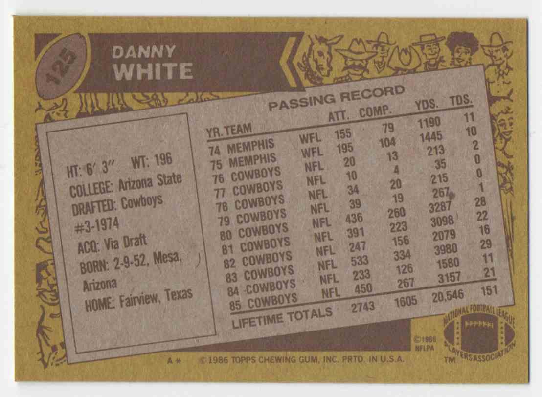 1986 Topps Danny White #125 card back image
