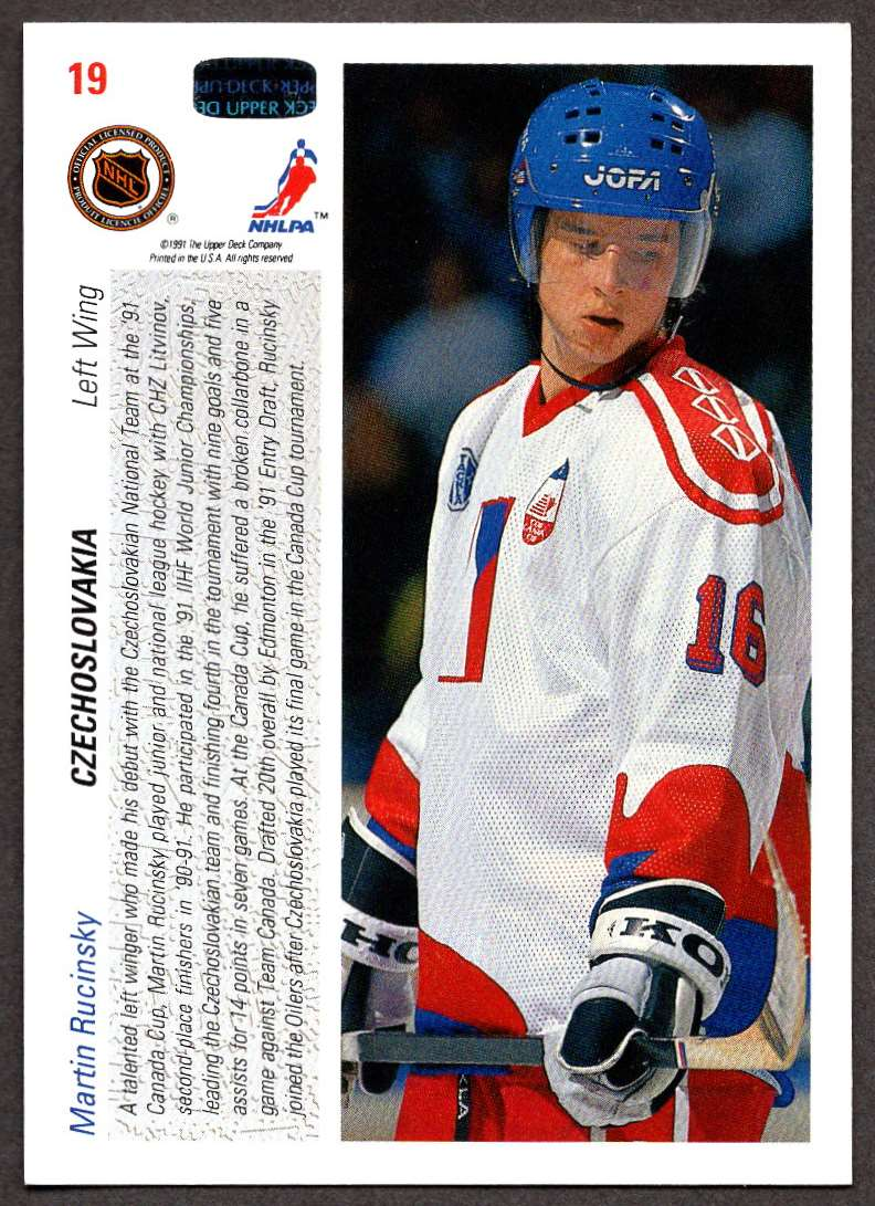1991-92 Upper Deck Martin Rucinsky #19 card back image