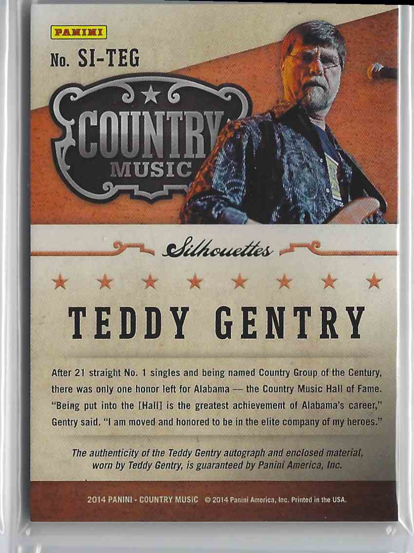 2015 Country Music Silhouette Signature Materials Green Teddy Gentry #SI-TEG card back image