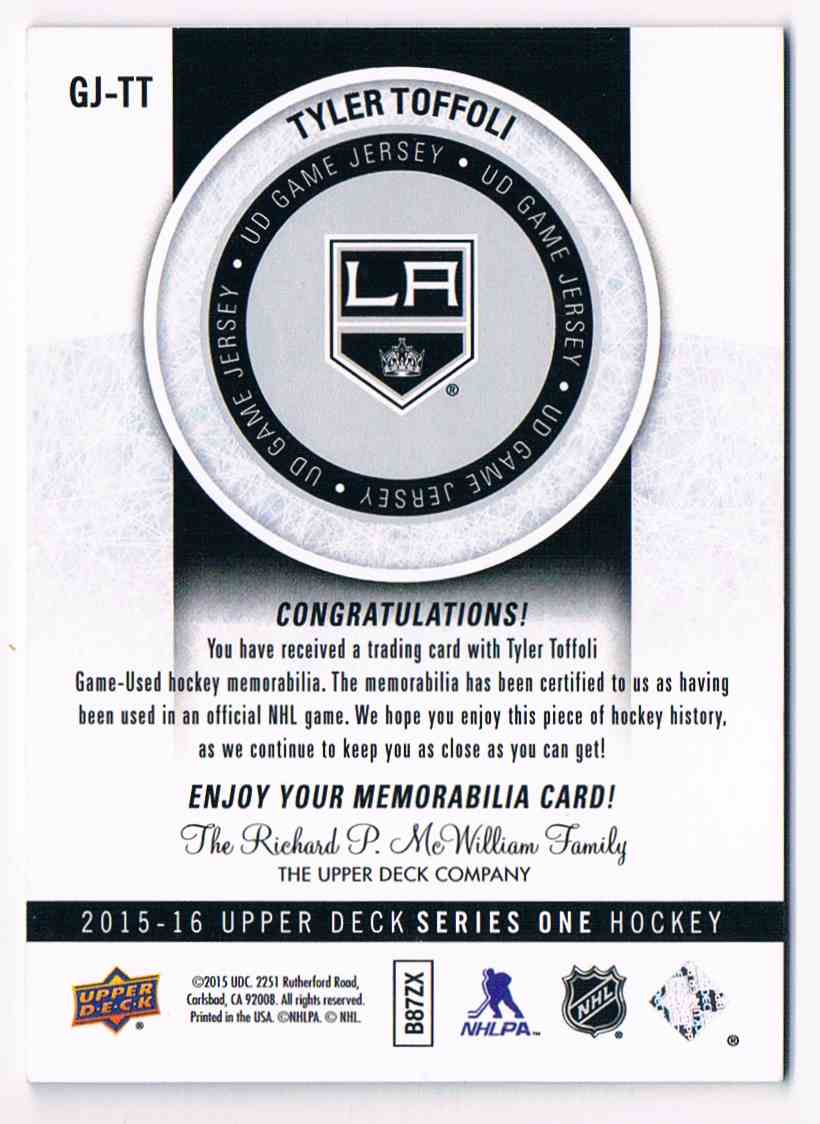 2015-16 Upper Deck UD Game Jersey Tyler Toffoli #GJ-TT card back image