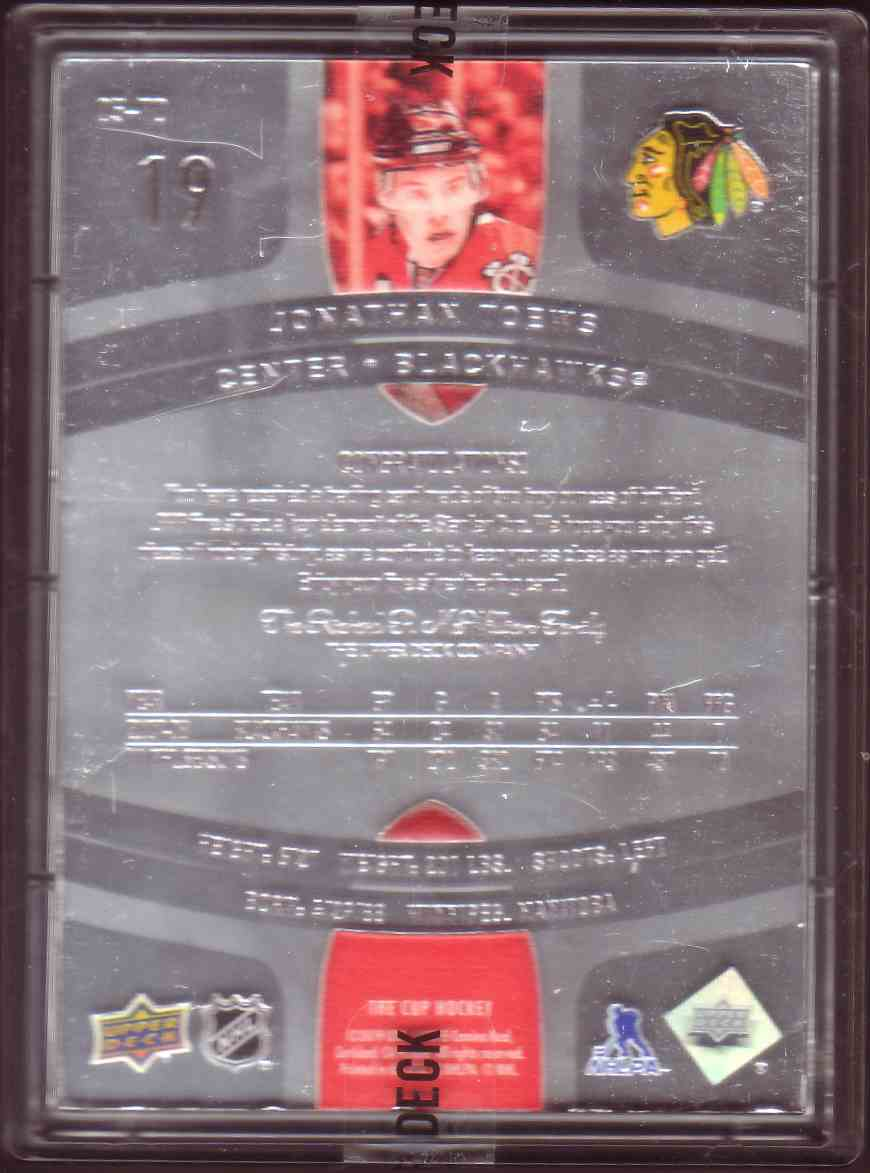 2018-19 Upper Deck The Cup Fine Silver Jonathan Toews #05-TO card back image