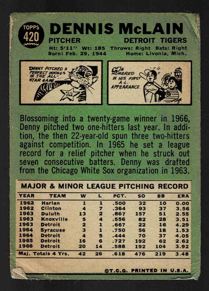 1967 Topps Denny McLain #420 card back image