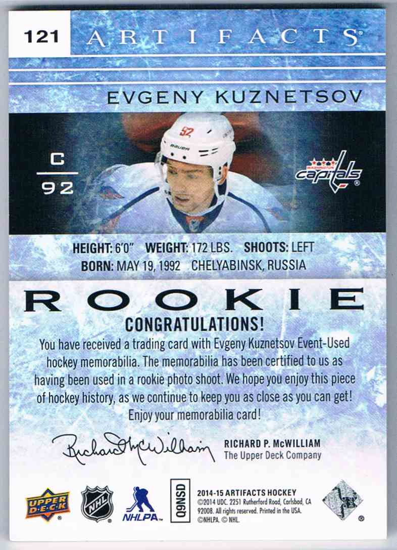 2014-15 Artifacts Rookie Dual Patch Evgeny Kuznetsov #121 card back image