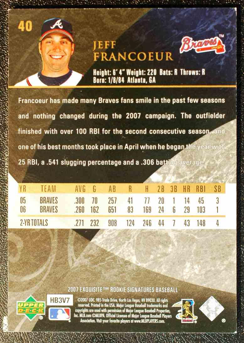 2007 Exquisite Collection Rookie Signatures Jeff Francoeur 40 On