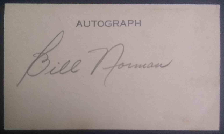 1931 3X5 Bill Norman card back image