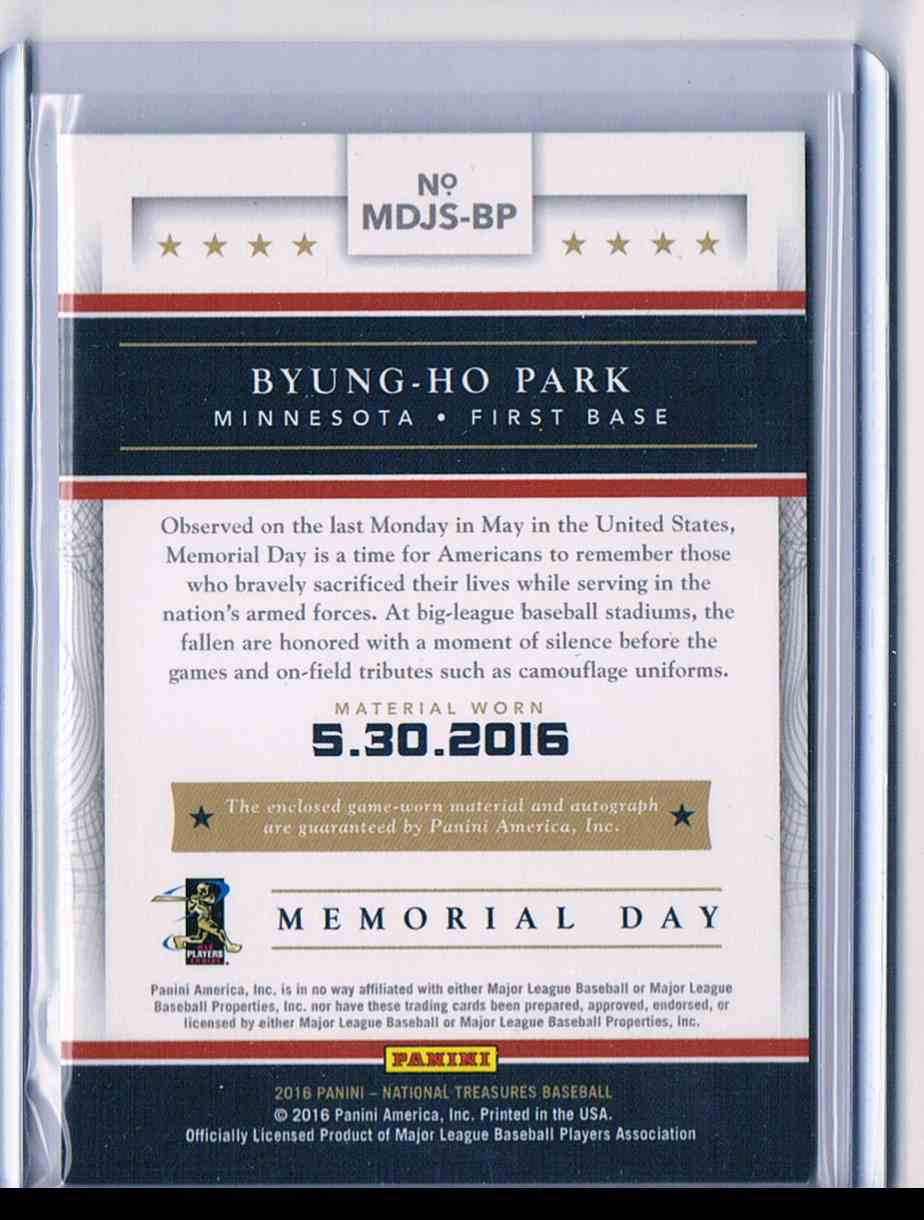2015 Panini National Treasures Byung-Ho Park #MDJS-BP card back image