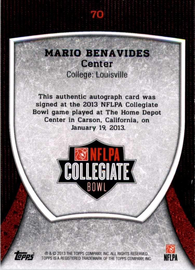 2013 Topps Nflpa Collegiate Bowl Autographs Mario Benavides #70 card back image