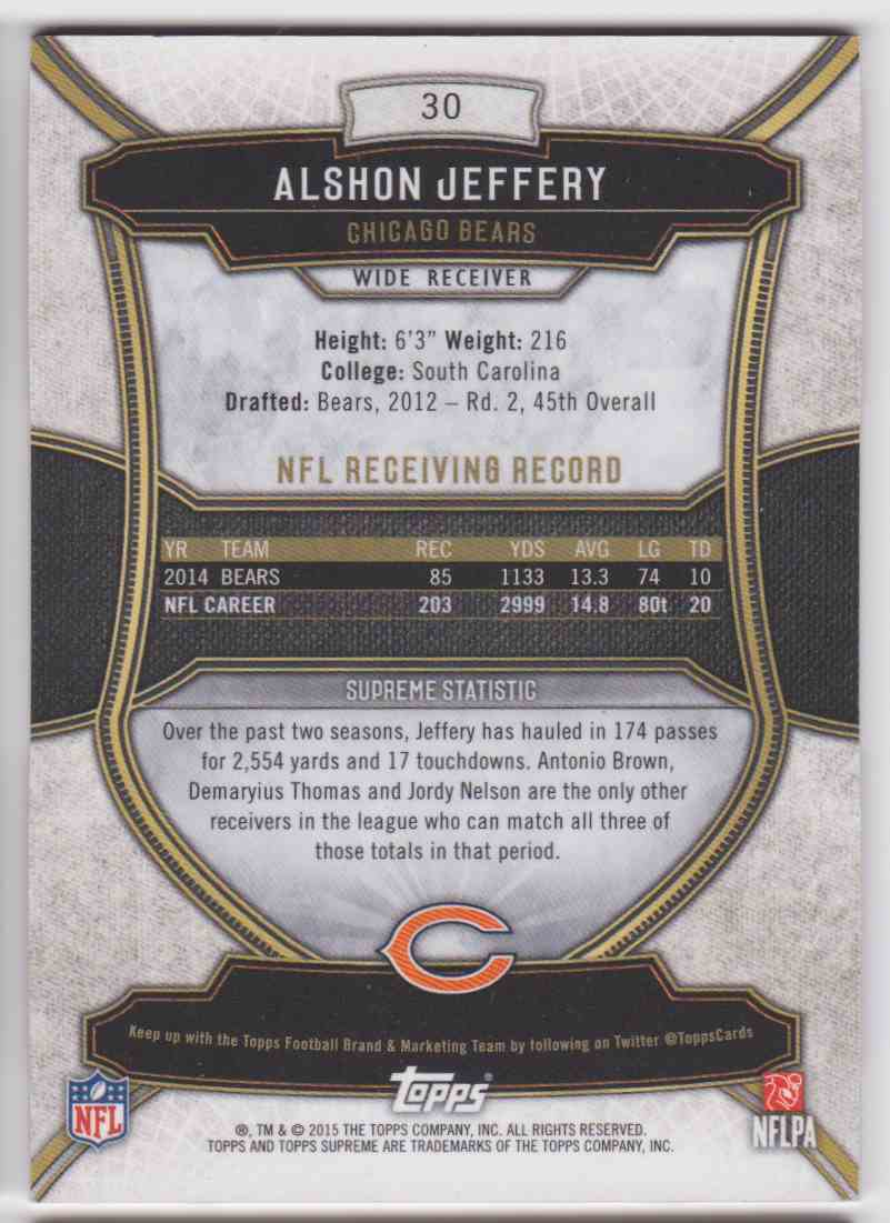 2015 Topps Supreme Violet Alshon Jeffery #30 card back image