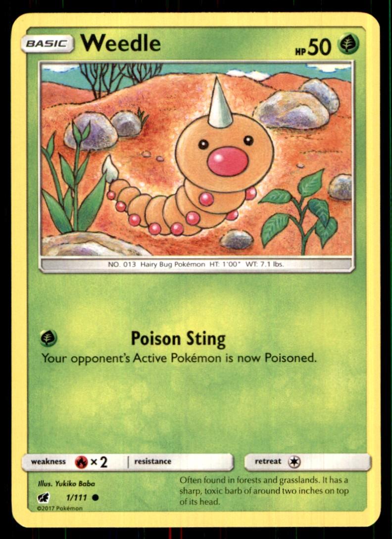 2017 Sun & Moon - Crimson Invasion Weedle #1 card front image