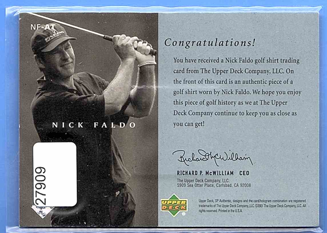 2001 SP Authentic Preview Authentic Threads Nick Faldo #NFAT card back image