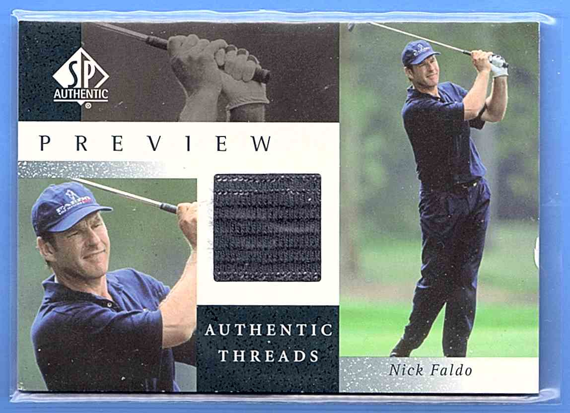 2001 SP Authentic Preview Authentic Threads Nick Faldo #NFAT card front image