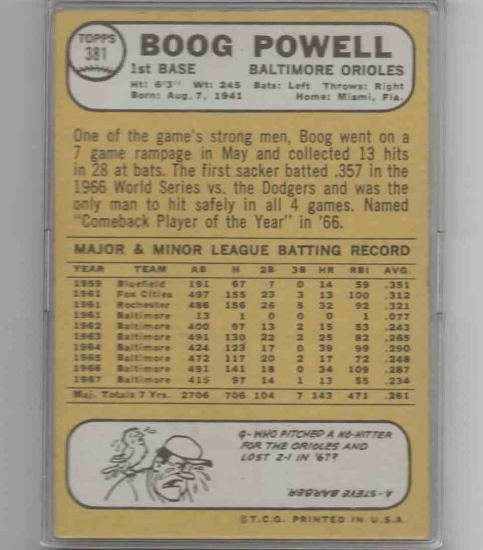 1967 Topps Boog Powell #381 card back image