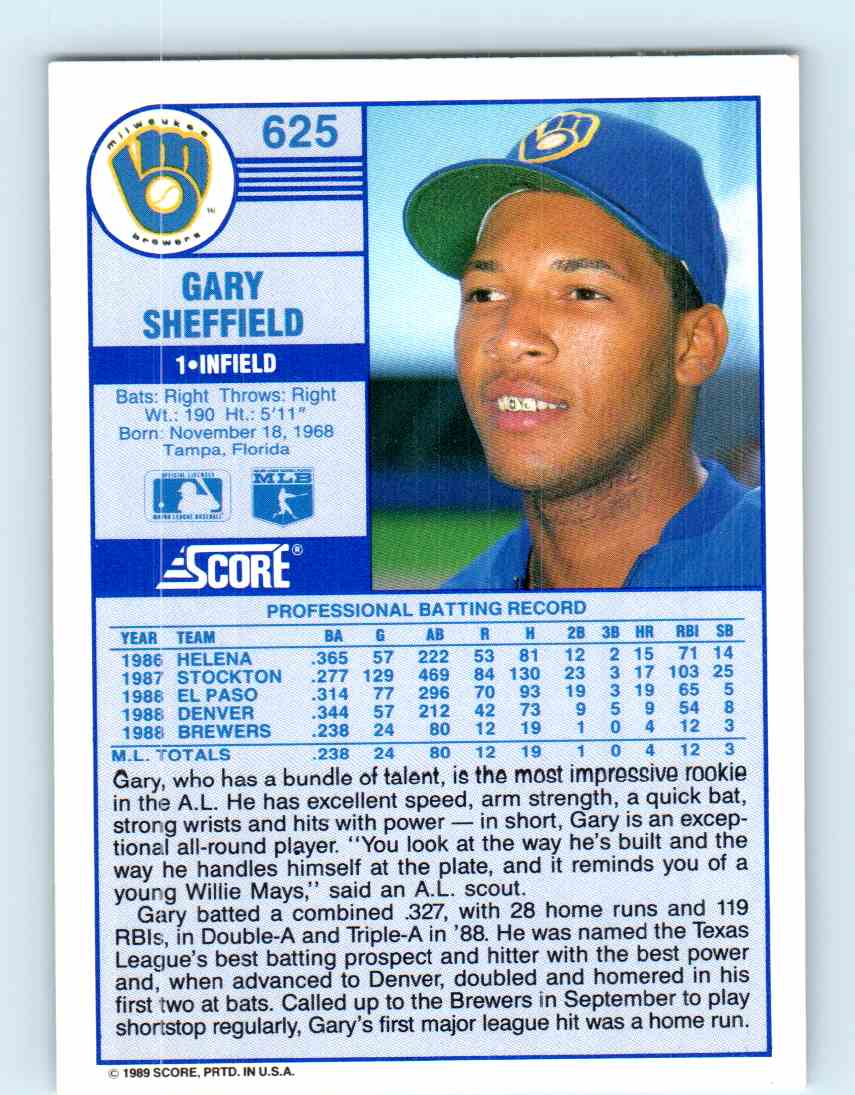 1989 Score Gary Sheffield 625 On Kronozio