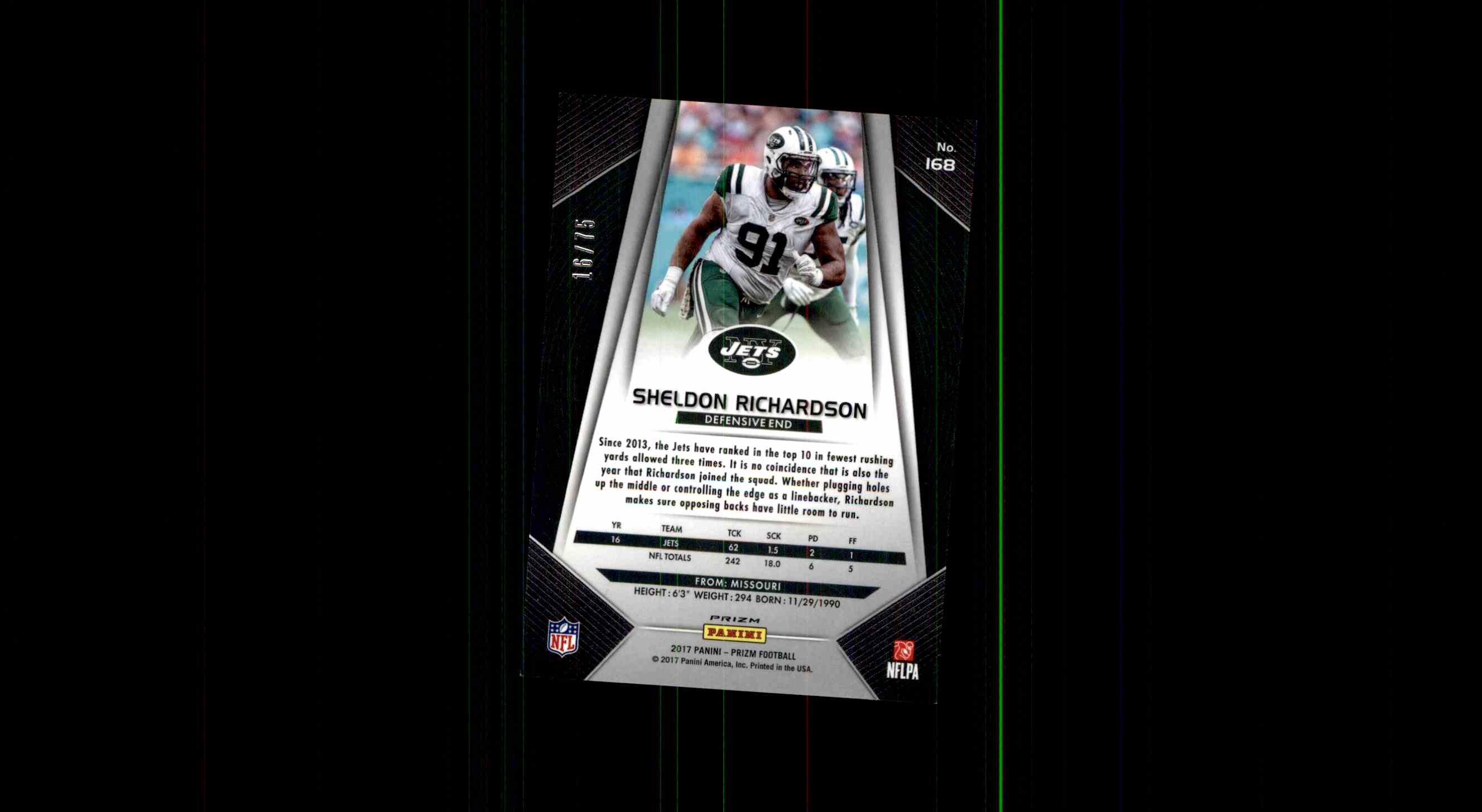 2017 Prizm Sheldon Richardson card back image