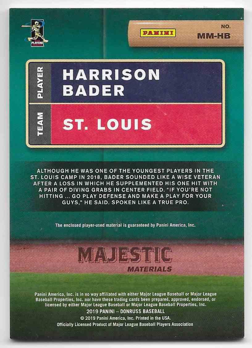 2019 Donruss Majestic Materals Harrison Bader #MM-HB card back image